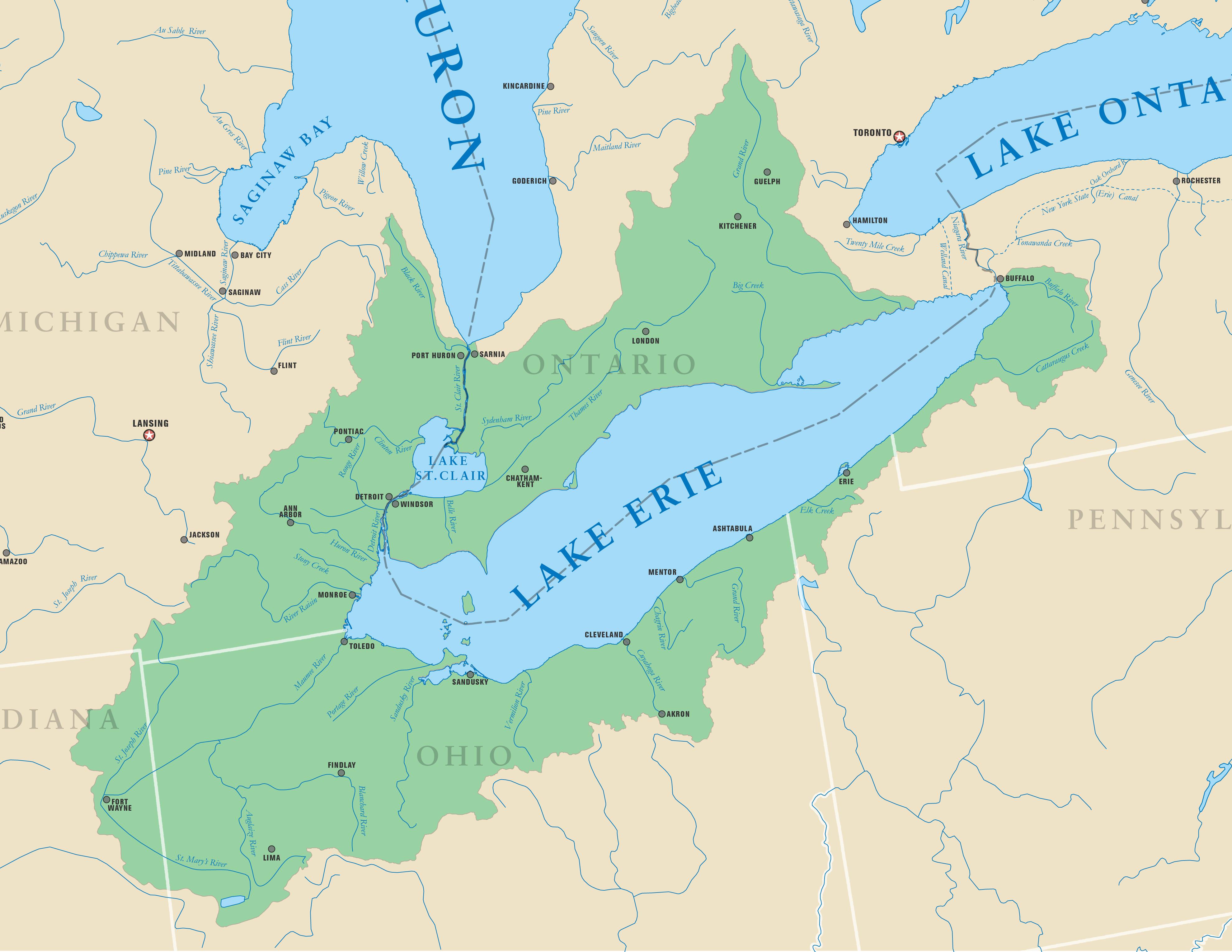 Где находятся озеро эри